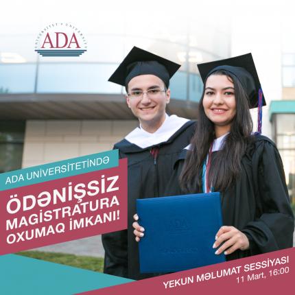 ADA Universitetində ödənişsiz magistratura oxumaq imkanı!