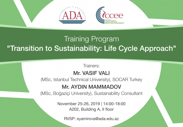 """Upcoming Training Program: """"Transition to Sustainability: Life Cycle Approach"""""""