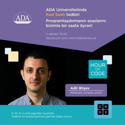 Proqramlaşdırmanın əsaslarını bir saata ADA Universiteti ilə öyrənin!