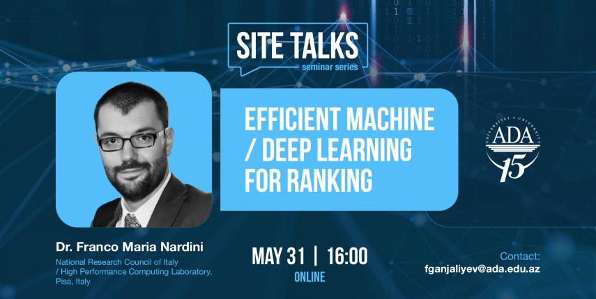 """""""SITE Talks"""" seminar with Dr. Franco Maria Nardini, National Research Council of Italy"""