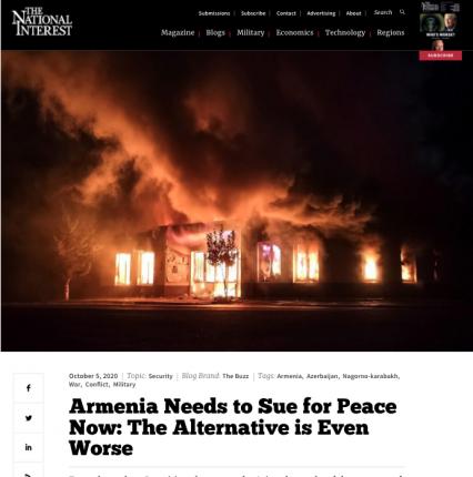 """""""The National Interest"""" published essay about heavy fighting between Armenia and Azerbaijan"""