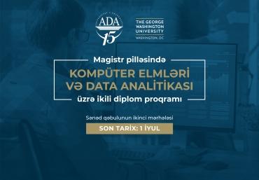 Kompüter elmləri və Data analitikası üzrə ikili diplom proqramına son müraciət tarixi: 1 iyul
