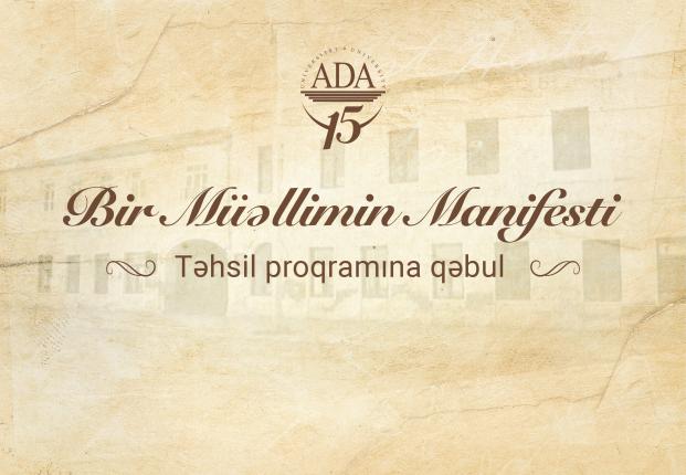 """ADA Universiteti """"Bir Müəllimin Manifesti"""" təhsil proqramına qəbul elan edir"""